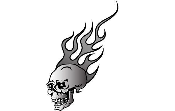 Cráneo en el fuego vector