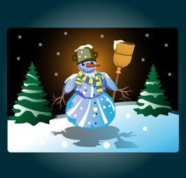 Funky color muñeco de nieve en la noche de Navidad