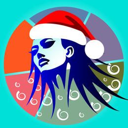 Artistic Girl Face with Santa Hat