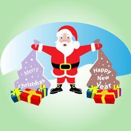 Comic santa claus con regalos de navidad