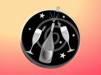 Ícone de celebração funky com champanhe e vidro