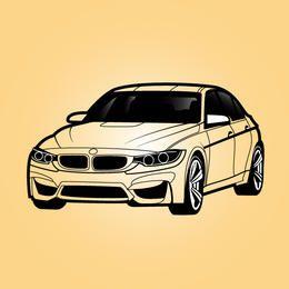 Carro Sedan BMW Preto & Branco