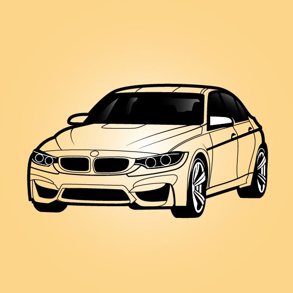 Bmwcarimage: Black & White BMW Sedan Car