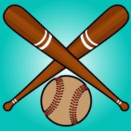 Bastões de beisebol cruzados com bola abaixo