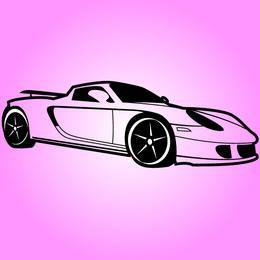 Carro esportivo Porsche preto e branco