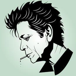 Cabeza artística en blanco y negro de Lou Reed