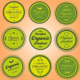 Paquete de pegatinas de productos elípticos orgánicos