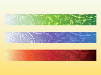 3 Colors Wide Floral Banner