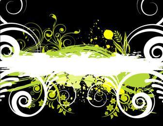 Grüner Grungy Fleck mit Blumenstrudeln