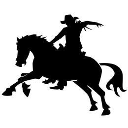 Silhouette Cowboy on the Back of a Horse