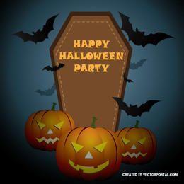 Halloween Poster with Pumpkins Tombstone