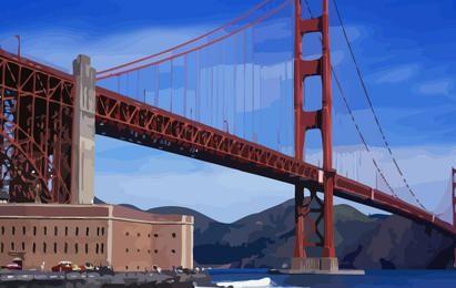 Ilustração de ponte dourada
